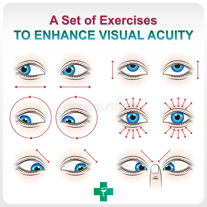 Enhance Visual Acuity. Ophthalmic allowance. Medical a visual aid set of exercises to increase visual acuity vector illustration