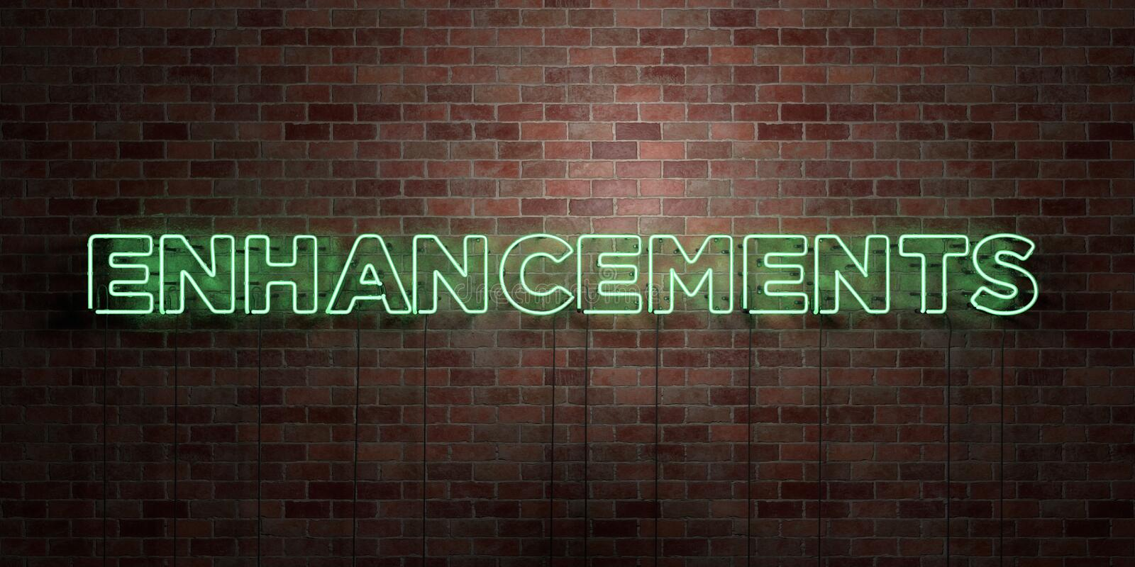 ENHANCEMENTS - fluorescent Neon tube Sign on brickwork - Front view - 3D rendered royalty free stock picture. Can be used for online banner ads and direct stock illustration