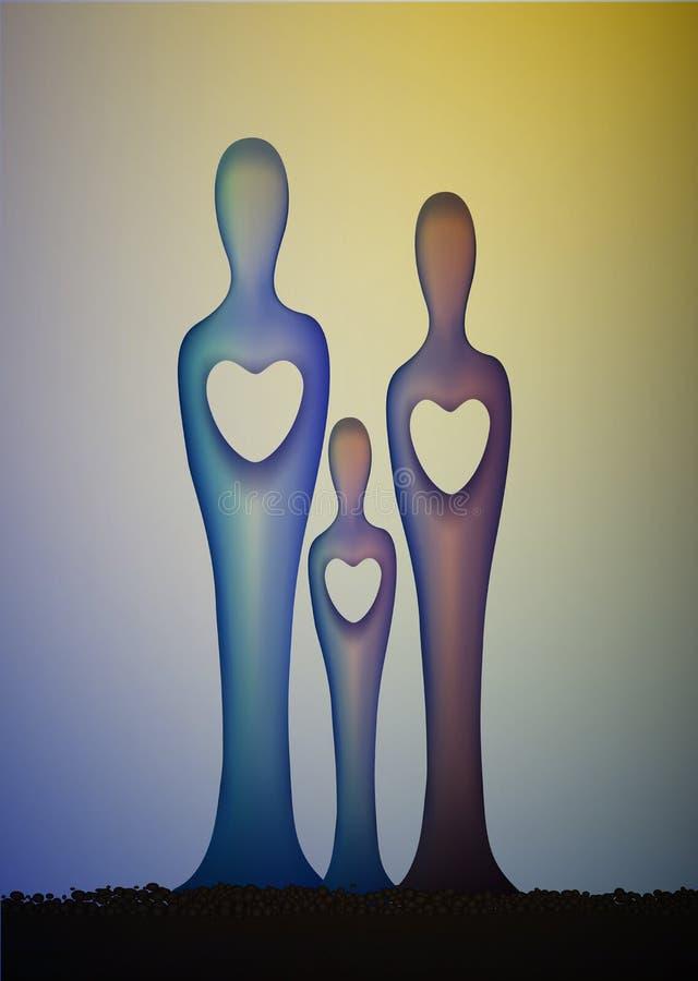 Enhet av familj tre skulpterar, familjbegreppet, familjförälskelseidén, tillsammans för evigt, stock illustrationer