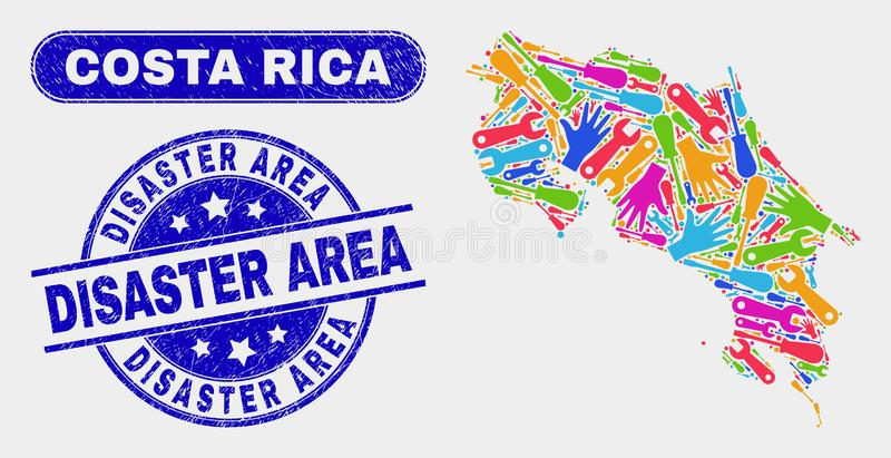 Enhet Costa Rica Map och vattenstämplar för Grungekatastrofområde royaltyfri illustrationer