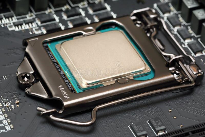 Enhet för central processor på moderkortet arkivbilder