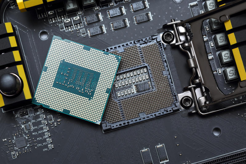 Enhet för central processor på moderkortet arkivbild