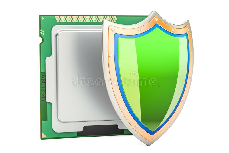 Enhet för CPU-datorprocessor med skölden Säkerhet och skydd stock illustrationer