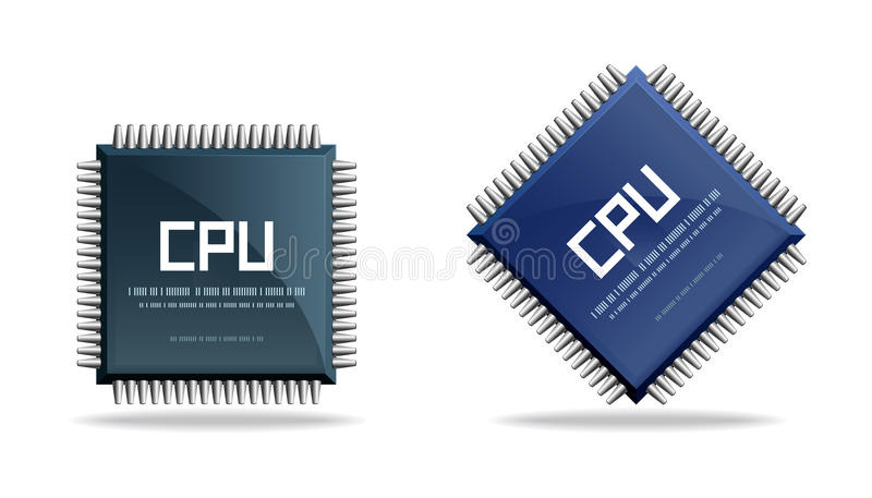 enhet för CPU för central chip behandlande stock illustrationer