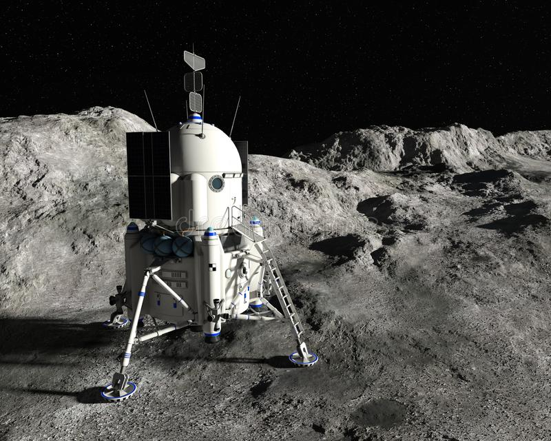 Enhet för mån- landning för måne, utforskning av rymden vektor illustrationer