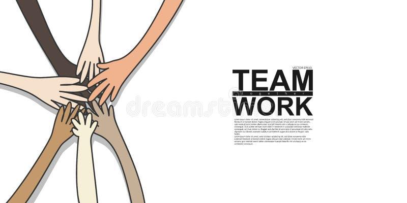 Enhet och teamworkbegrepp det unga mång- nationalitetfolket som sätter deras händer, staplar tillsammans Vektorillustration, läge royaltyfri illustrationer
