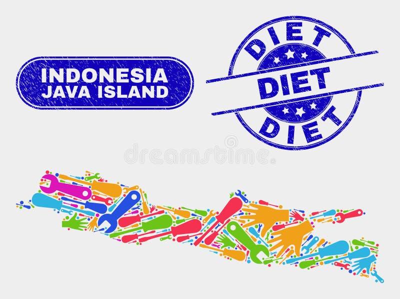 Enheten Java Island Map och Grunge bantar skyddsremsor vektor illustrationer