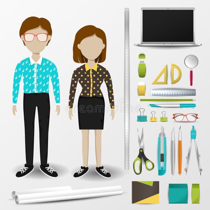 Enhetliga kläder för arkitekt som eller för inreformgivare är stationära och royaltyfri illustrationer
