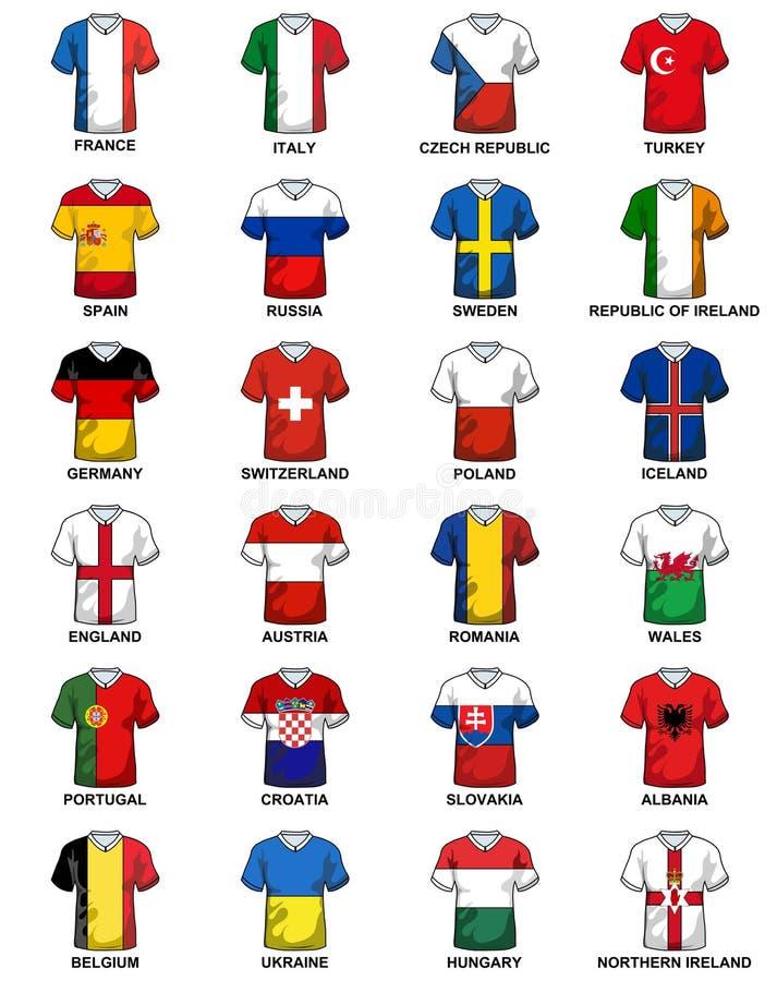 Enhetligt euro 2016 för flaggor för europeiska länder för T-tröja royaltyfri illustrationer
