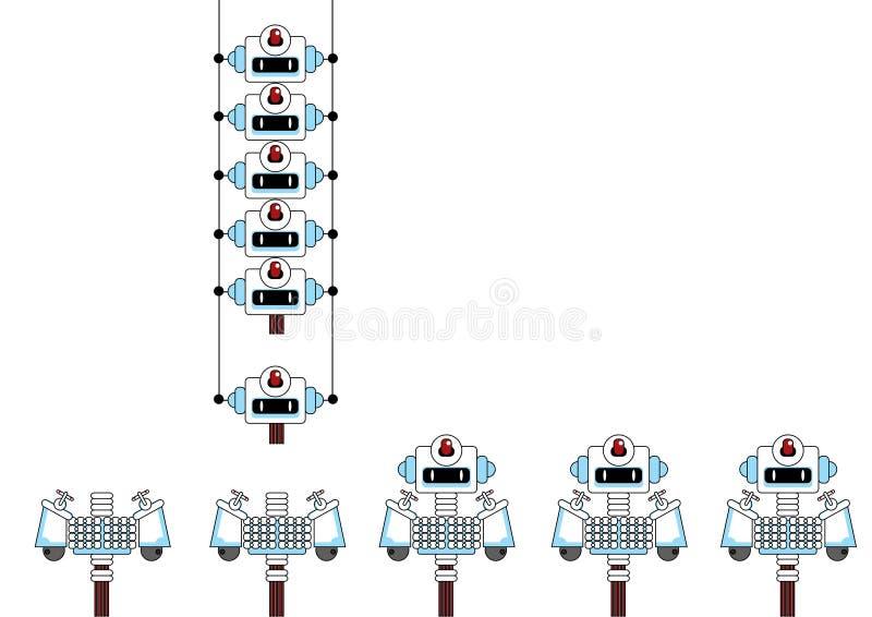 enhetsdiagramlinje robot stock illustrationer