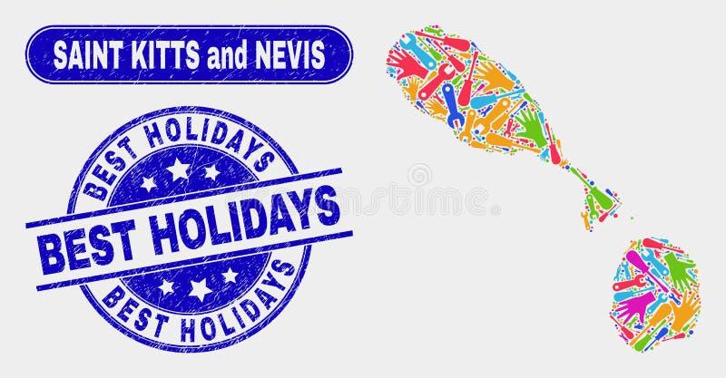 Enhetshelgon Kitts och Nevis översikt och att bedröva bästa feriestämplar stock illustrationer