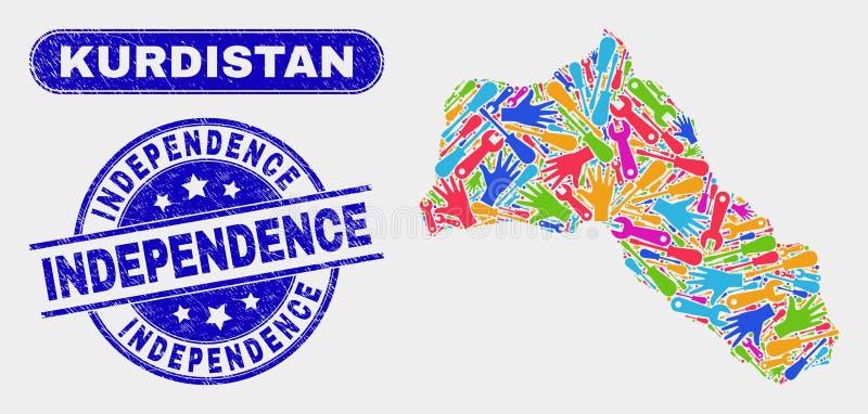 EnhetsKurdistanöversikt och skrapade självständighetskyddsremsor royaltyfri illustrationer