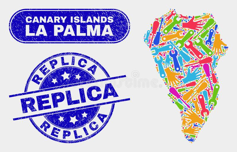 EnhetsLa Palma Island Map och Grungekopiastämplar stock illustrationer