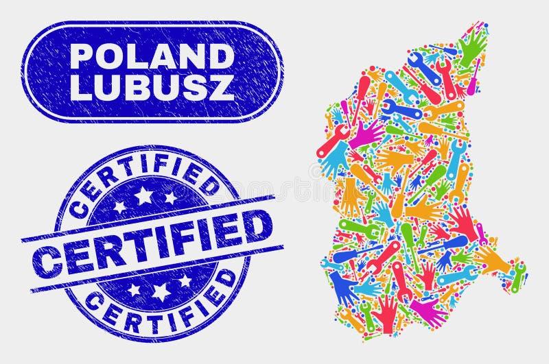 EnhetsLubusz Voivodeship översikt och att bedröva intygade stämpelskyddsremsor royaltyfri illustrationer