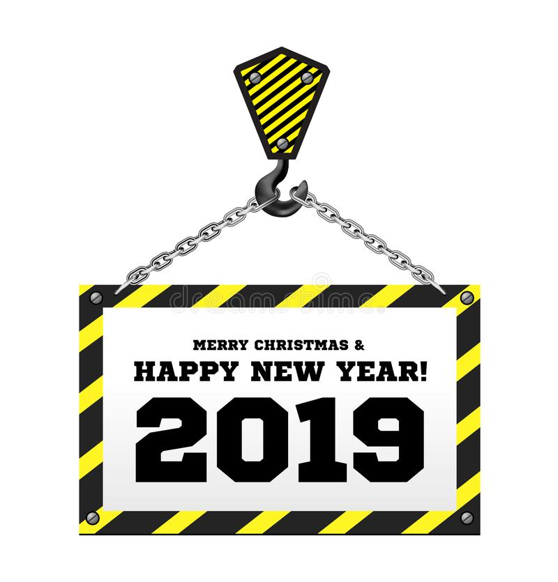 Enhorabuena al Año Nuevo 2019 en el fondo de una grúa de construcción libre illustration
