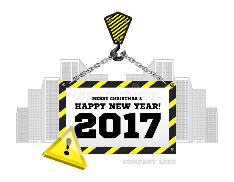 Enhorabuena al Año Nuevo en el fondo de una grúa de construcción ilustración del vector