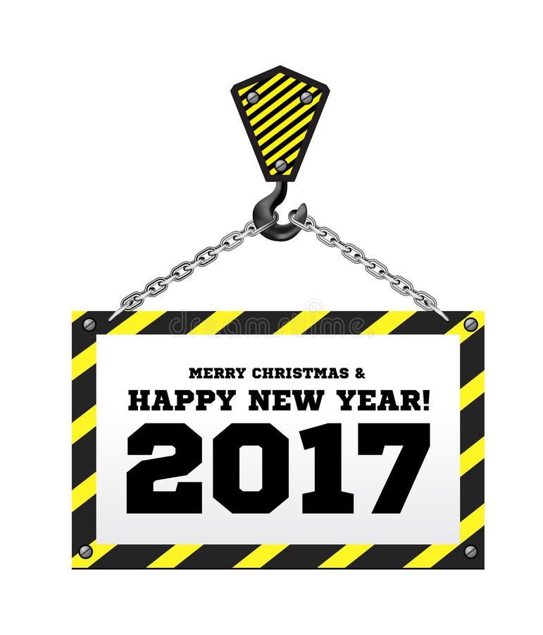 Enhorabuena al Año Nuevo en el fondo de una grúa de construcción libre illustration
