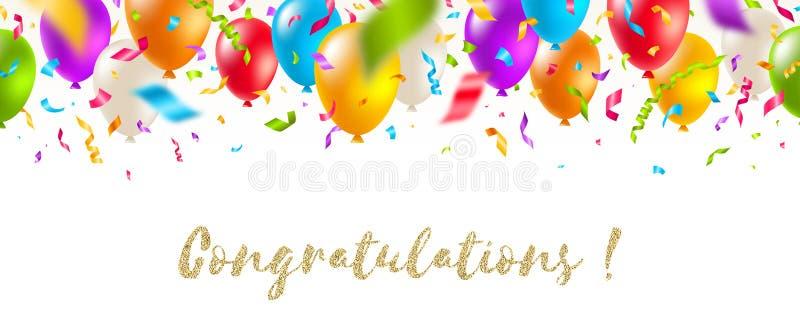 Enhorabuena - bandera de saludo celebradora - globos y confeti multicolores Ejemplo festivo del vector stock de ilustración