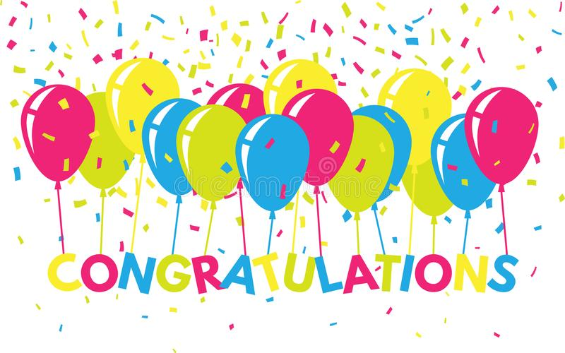 Enhorabuena colorida con confeti y globos Bandera plana del saludo Texto brillante para el sitio web, cartel, tarjeta stock de ilustración