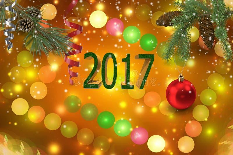 Enhorabuena con la Navidad y el Año Nuevo 2017 libre illustration