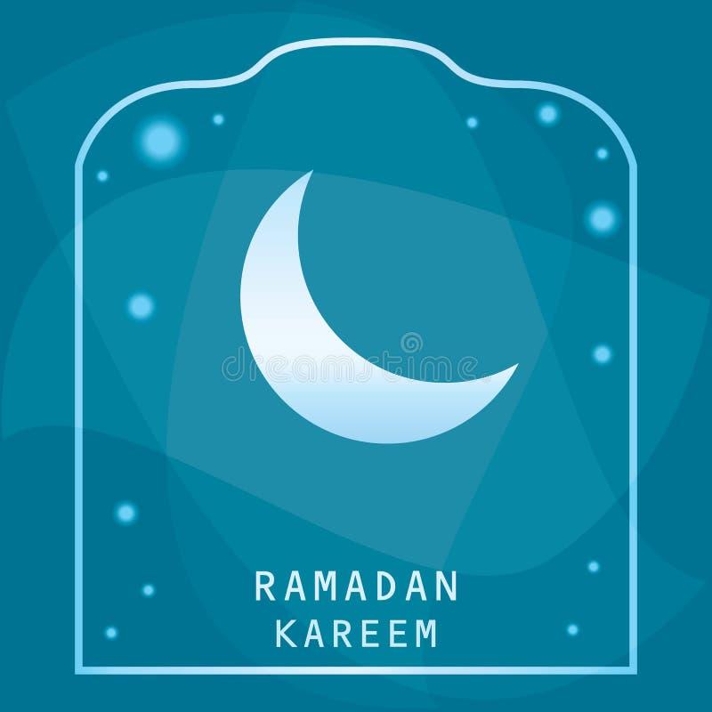 Enhorabuena de Ramadan Kareem en un fondo azul El mes de los musulmanes ayuna stock de ilustración