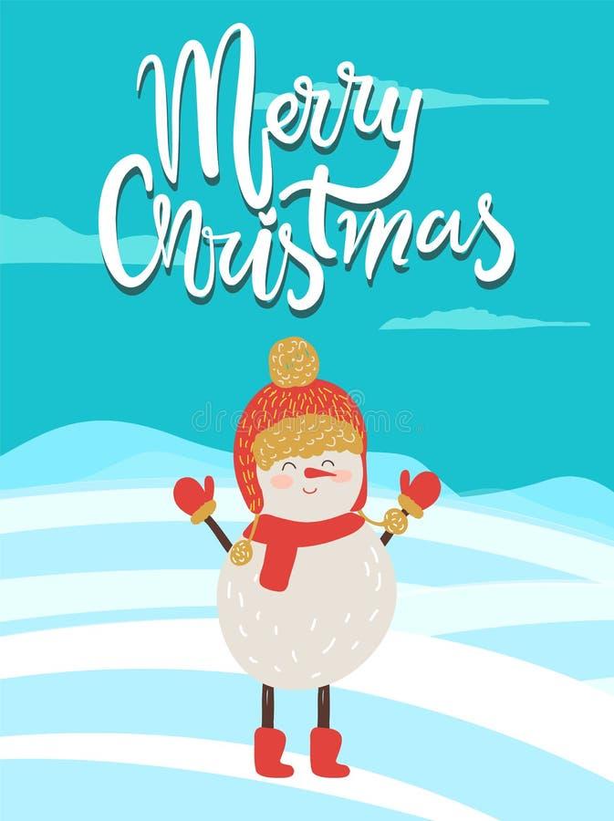 Enhorabuena del cartel de la Feliz Navidad del muñeco de nieve stock de ilustración