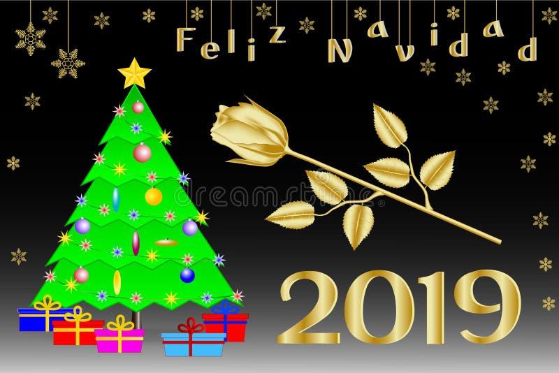 Enhorabuena en la Navidad 2019 en español Árbol de navidad con una estrella cinco-acentuada de oro, regalos y una rosa de oro ilustración del vector
