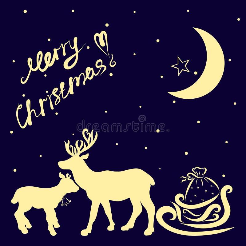 Enhorabuena en la Navidad, la familia de los ciervos y los regalos en un trineo ilustración del vector