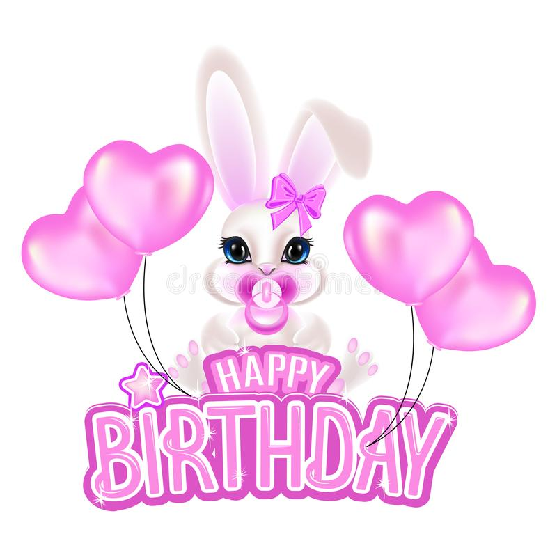 Enhorabuena en su cumpleaños con letras rosadas y un pequeño conejo dulce stock de ilustración