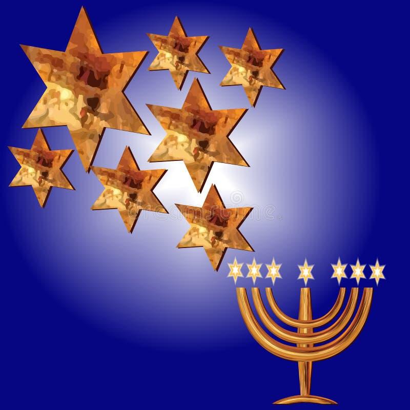 Enhorabuena Menorah, estrellas de Magen David ilustración del vector