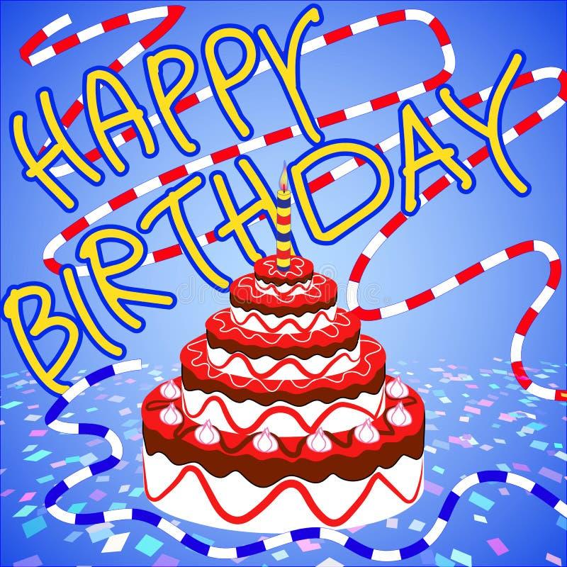 Enhorabuena y torta de la fresa del feliz cumpleaños fotos de archivo