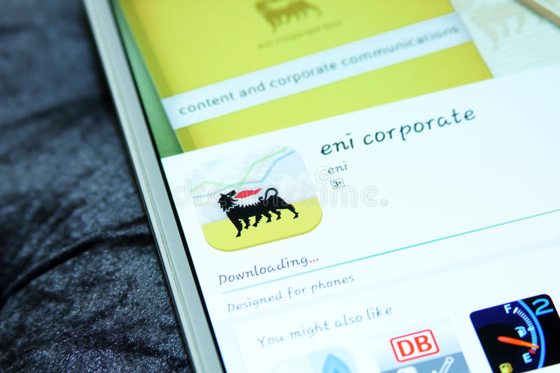 Eni corporate mobile app royalty free stock photo