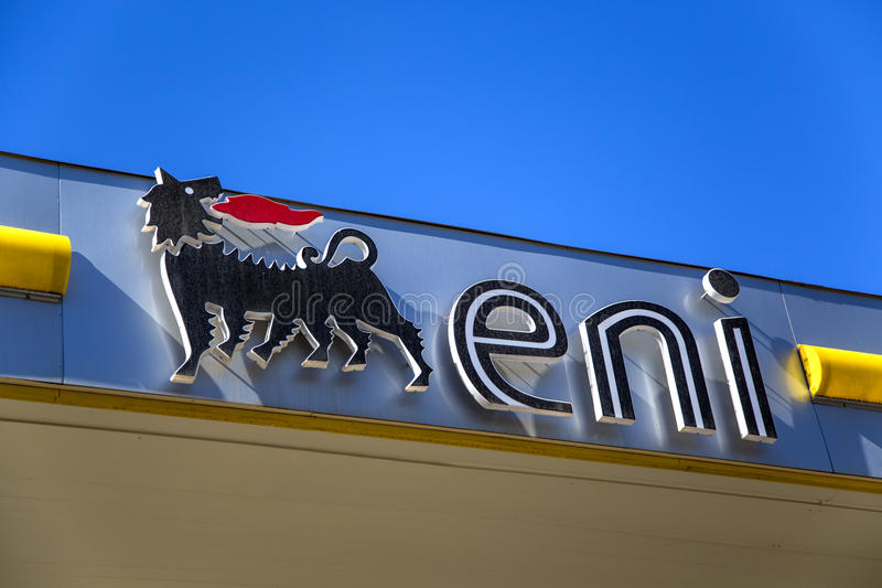Eni petrol station royalty free stock photo
