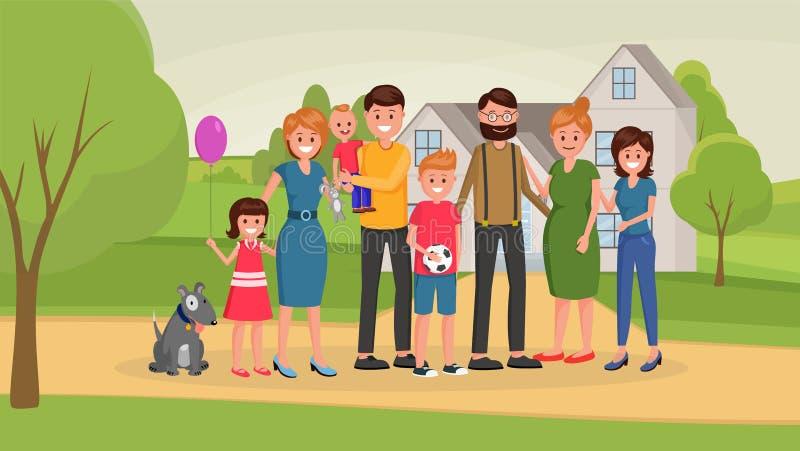 Enig familj tillsammans stock illustrationer