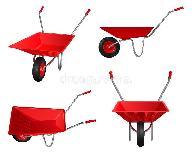 Enig-gereden kruiwagen met rood lichaam en handvatten, reeks vectorillustraties stock illustratie