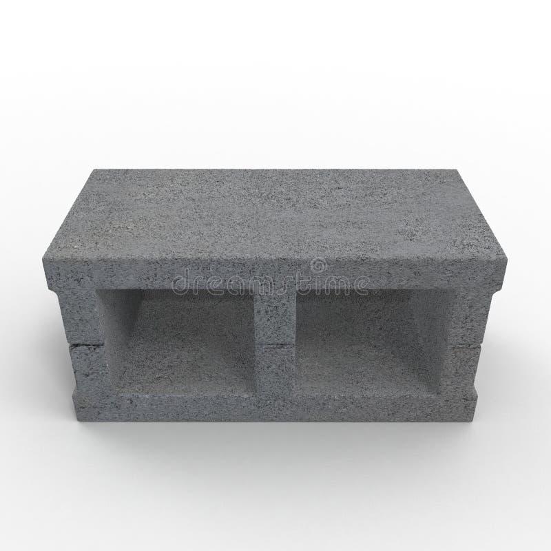 Enig Gray Concrete Cinder Block Isolated op Wit 3D Illustratie royalty-vrije illustratie