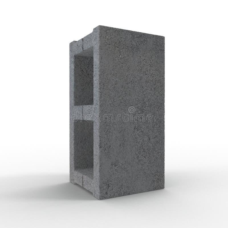 Enig Gray Concrete Cinder Block Isolated op Wit 3D Illustratie vector illustratie