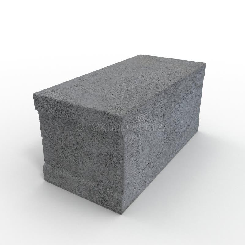 Enig Gray Concrete Cinder Block Isolated op Wit 3D Illustratie stock illustratie
