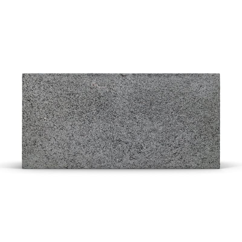 Enig Gray Concrete Cinder Block Isolated op Witte 3D Illustratie royalty-vrije illustratie