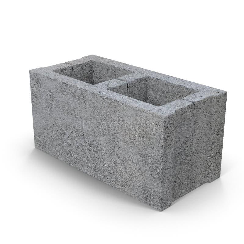 Enig Gray Concrete Cinder Block Isolated op Witte 3D Illustratie vector illustratie