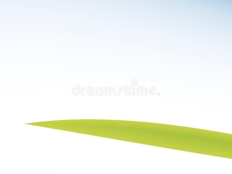 Enig groen grassprietje/blad en blauwe witte gradiëntfractal vector illustratie