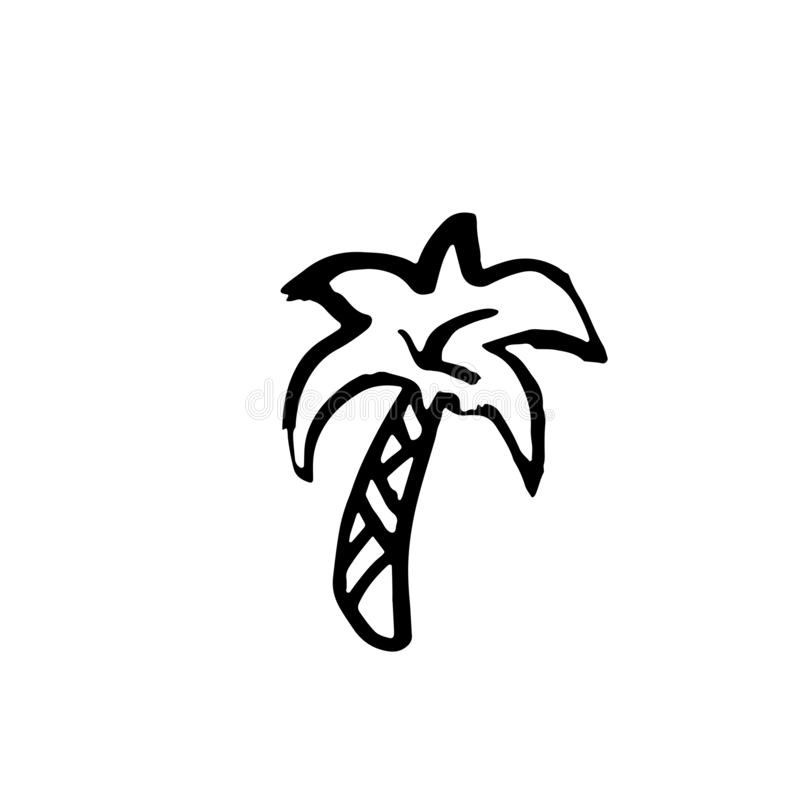 Enig palm grunge pictogram Vectorhand getrokken tropisch silhouet vector illustratie