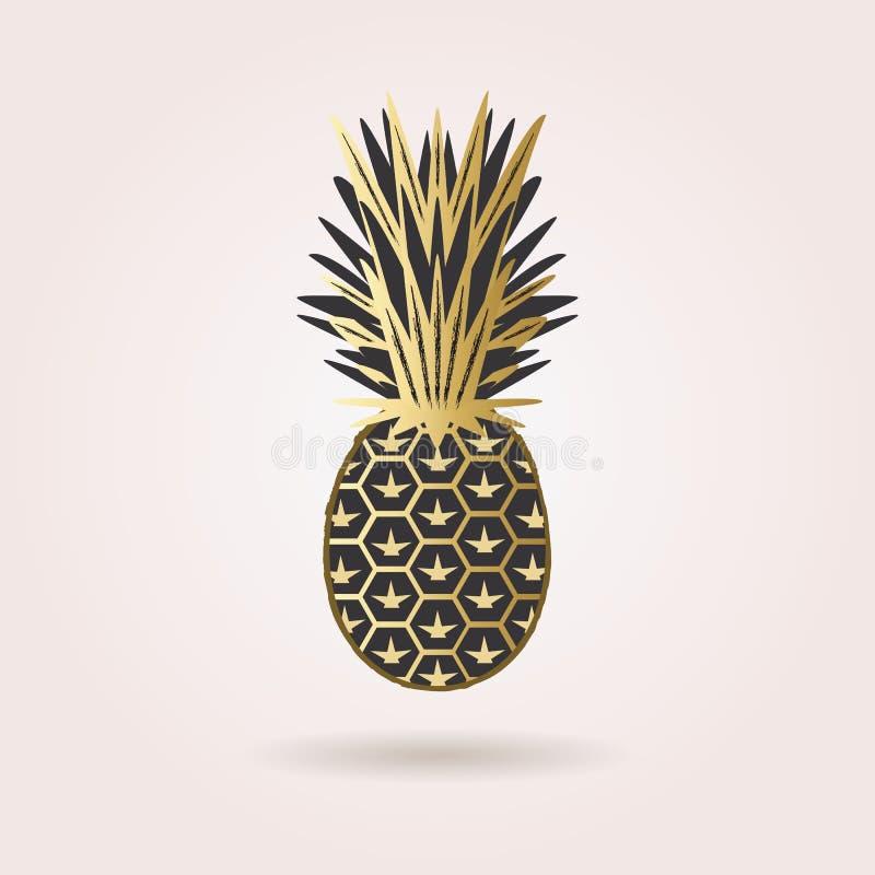 Enig zwart en gouden abstract ananaspictogram vector illustratie