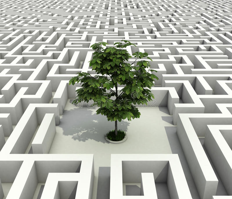 Enige boom die in eindeloos labyrint wordt verloren vector illustratie