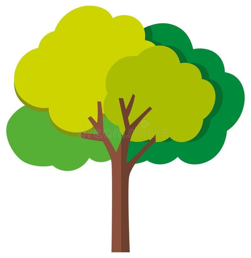Enige boom op witte achtergrond vector illustratie