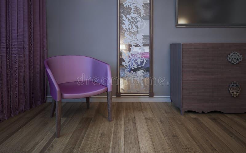 Enige donkere roze leunstoel dichtbij muur met gevormde spiegel stock afbeeldingen