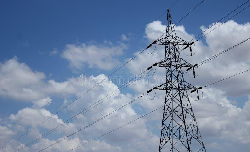 Enige Elektriciteitspolen stock foto's