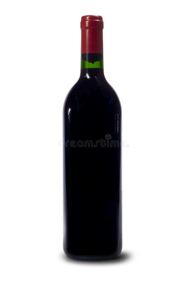 Enige fles rode wijn stock foto's