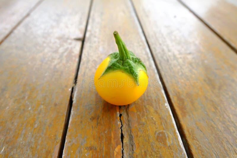 Enige Gele Aubergine Sluit omhoog Verse Gele Aubergine Thai op Houten Lijstachtergrond royalty-vrije stock afbeeldingen