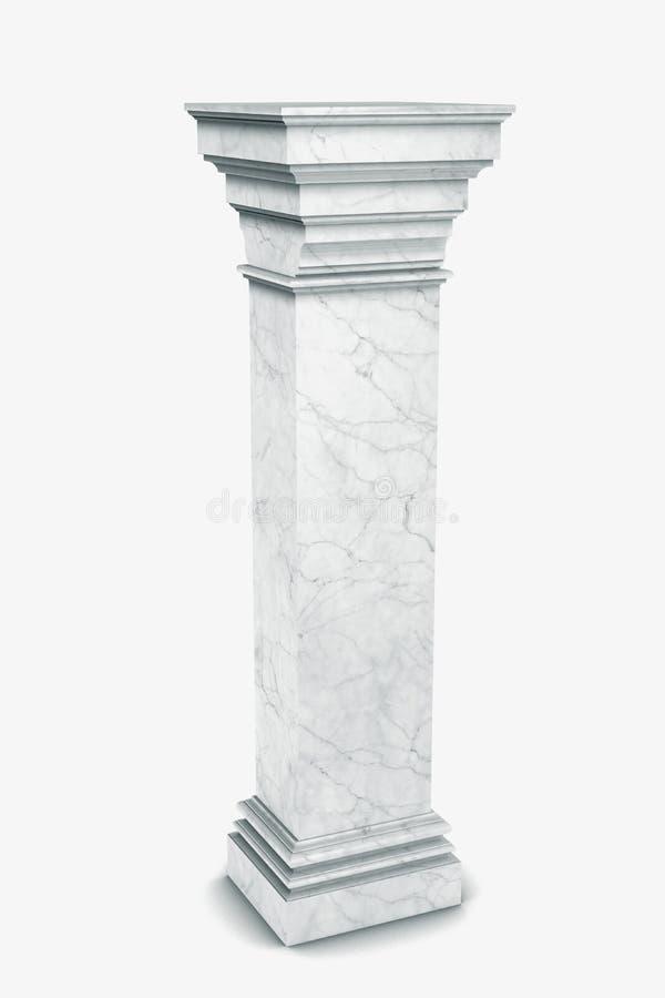 Enige Griekse die kolom op wit wordt geïsoleerd stock illustratie